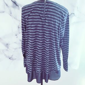 STYLUS Tops - Stylus Women's Plus XXL Navy Blouse Stripes